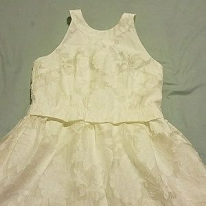 White Brocade  Dress with Pockets